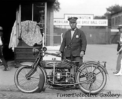 Police Officer with Henderson Motorcycle - 1922 - Historic Photo Print
