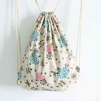 Handmade Linen Cotton Draw String Backpack Printed Colored Dandelion SD8 B