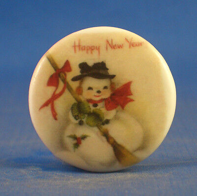 """1""""  Porcelain China  Button -- Happy New Year"""