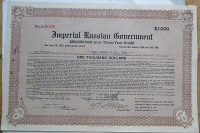 1941 Imperial Russian Government, Three-Year Credit Bond Certificate/Loan Russia