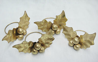 Christmas Goldtone Metal Holly Napkin Rings Set of 4 Figural Leaves and Berries