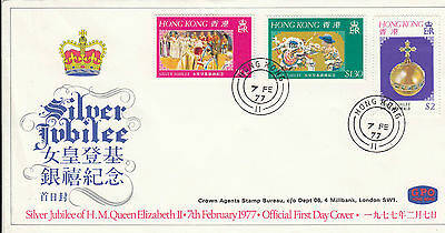 Stamps 1977 Hong Kong Silver Jubilee QE2 set of 3 on official first day cover