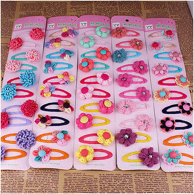 10pcs Mixed Lot Flower Baby Kids Girls Hair Pins Clips Hair Accessories Jewelry