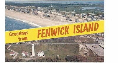 1950's postcard- Aerial View -Greetings From Fenwick Island, Delaware