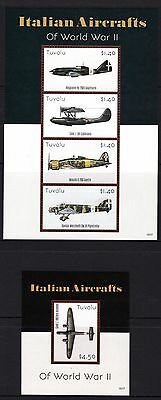 Tuvalu 2015 Italian Aircraft of WWI Sheetlet 4 + M/S MNH