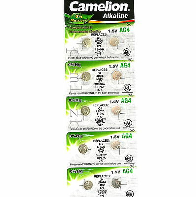 10x AG4 Camelion Alkaline Batteries G4 LR626 LR66 SR626W  GP77A 177 377 Battery