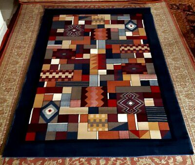 221x137 TAPPETO MODERNO shaggy design PATCHWORK Blue *