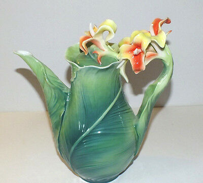 FRANZ PORCELAIN BRILLIANT BLOOMS TEAPOT CALLA LILY new condition with box