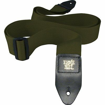 Ernie Ball 2in Polypro guitar strap with leather ends, Olive, 4048