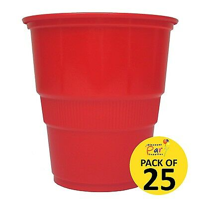 Red Disposable Plastic Cups (Pack Of 25) 270Ml Birthday Party Supplies