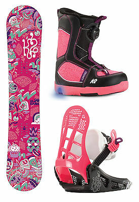 K2 Girls Snowboard - Lil' Kandi Grom Package - Board, Boots, Bindings - 2016