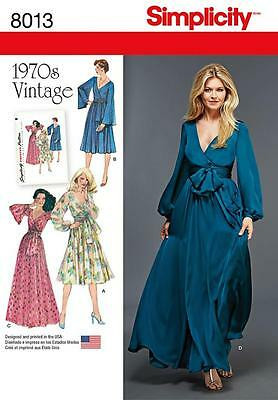 SIMPLICITY SEWING PATTERN 1970's VINTAGE LINED DRESS SIZES 6 - 22 8013
