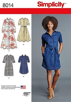 Simplicity Sewing Pattern Misses Shirt Dresses With Length Variations  6-24 8014