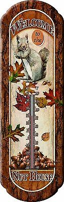 River's Edge Welcome to the Nut House Nostalgic Squirrel Tin Thermometer #1290