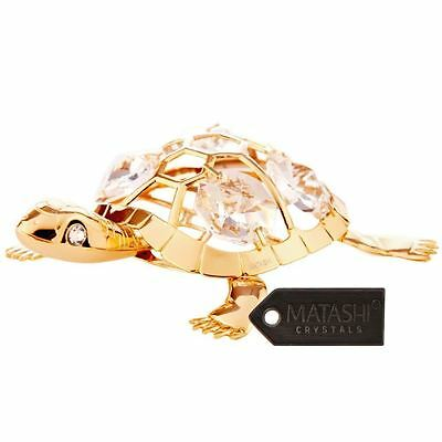 24K Gold Plated Beautiful Turtle Ornament Made with Genuine Matashi Crystals