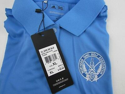 Adidas PureMotion Polo Shirt NEW Blue XL Northern Ohio Golf Association LADIES