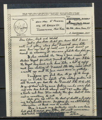 US 1944 V-Mail, 77th Eng. Lt Ponton Co (Ledo, India) APO 689, NY - TNT fishing