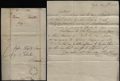 1833 BELFORD p/m letter  Thomas Scrowther at Kyloe to ALNWICK