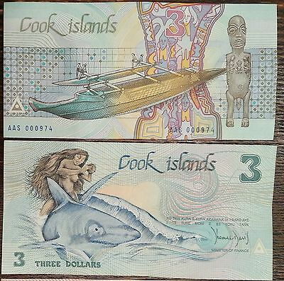 Cook Islands 3 Dollars 1987 P 3 Ina and Shark Boat Low Serial AAS UNC