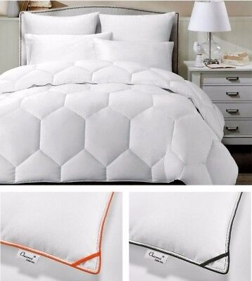 White Hexagonal Down Alternative Comforter Duvet Insert with Color Borders