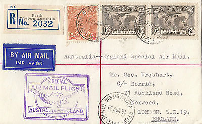 Stamps 6d brown airmail pair on cover 1931 Perth Western Australia to England