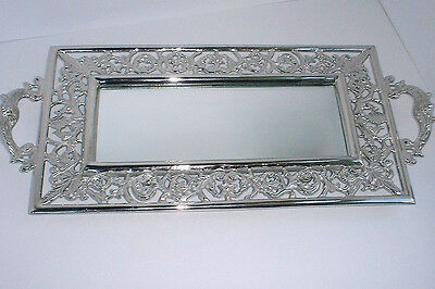 Large Silver Reproduction Ornate Rectangular CENTERPIECE MIRROR TRAY