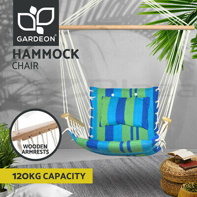 Deluxe Hanging Hammock Chair Swing Soft Foam Padding Outdoor Camping Frame