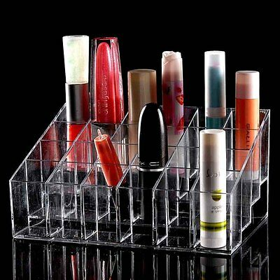 Clear 24 Makeup Lipstick Cosmetic Storage Display Stand Rack Holder Organizer GA