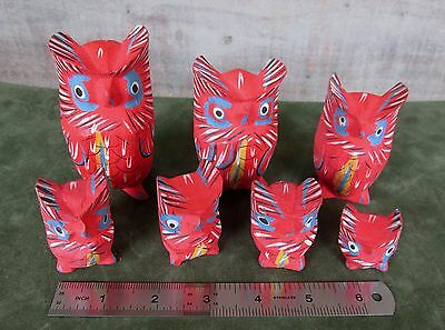 Set of 7 HAND CARVED and Painted OWLS family carving wood wooden Mexican? in USA