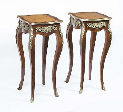 Exquisite Pair Walnut Side Occasional Tables Pedestals