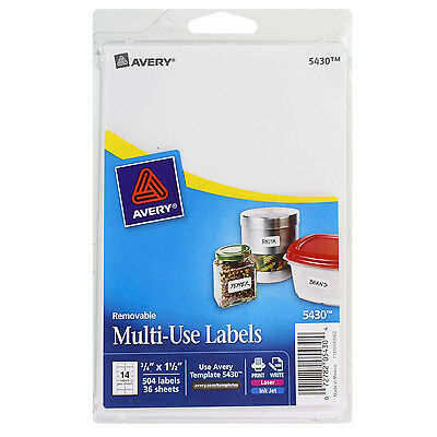 """Avery Removable Multi-Use Labels, 3/4 X 1 1/2, White, 504/pack"""