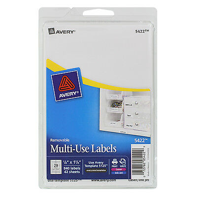 """""""Avery Removable Multi-Use Labels, 1/2 X 1 3/4, White, 840/pack"""""""