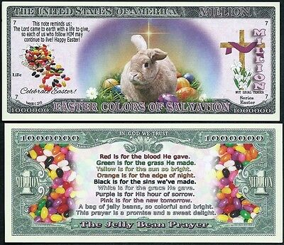 EASTER BUNNY JELLY BEAN PRAYER MILLION DOLLAR NOVELTY BILL - Lot of 2 BILLS