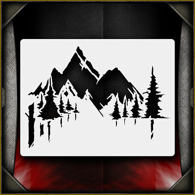Mountains 2 -  Airbrush Stencil Template Airsick