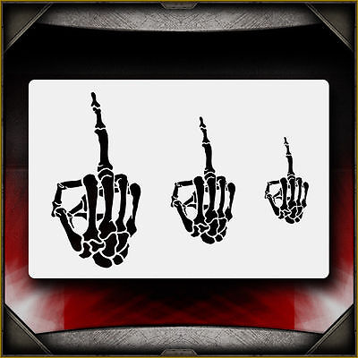 """Skeleton Middle Finger"" Airbrush Stencil Template Airsick"