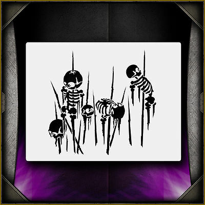 Spiked Skeleton 4 - Airbrush Stencil Template Airsick