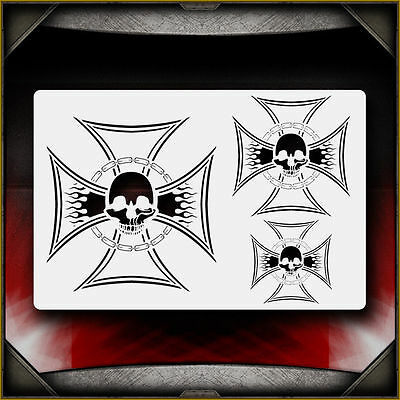 """Iron Cross 3"" Airbrush Stencil Template Airsick"