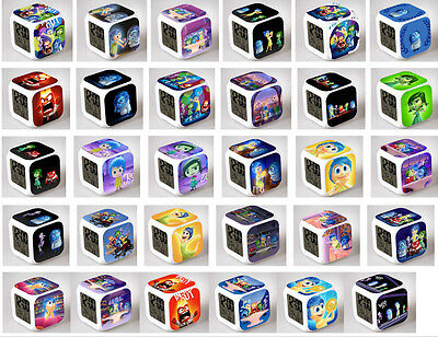 lovely 7 Color LED Night Light Alarm Clock inside out  Figures Watch Toy New