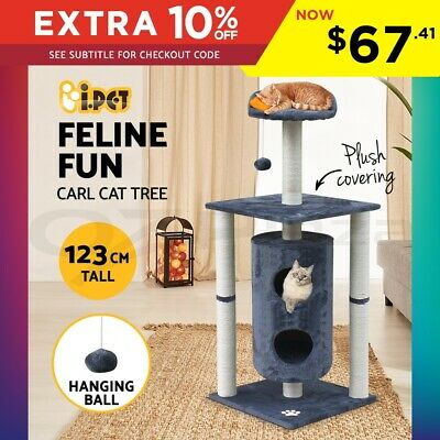 i.Pet Cat Scratching Tree Gym House Furniture Scratcher Pole Toy 100cm Grey S