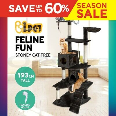 Cat Scratching Post Tree Gym House Scratcher Pole Furniture Toy Giant 193cm GR