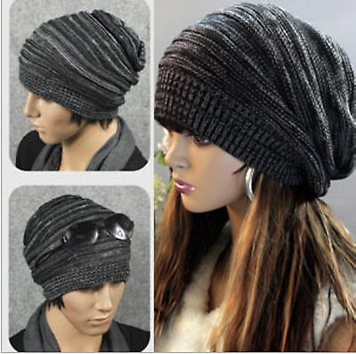 Unisex Womens Mens Winter Warm Knit Baggy Beanie Hats Oversized Ski Top Caps