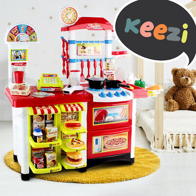 52pc Kids Pretend Kitchen Toy Set Role Play Supermarket 2-in-1 Set Cookware Food