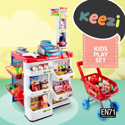 24pcs Kids Pretend Role Play Set Supermarket Store Food Children Toy Trolley