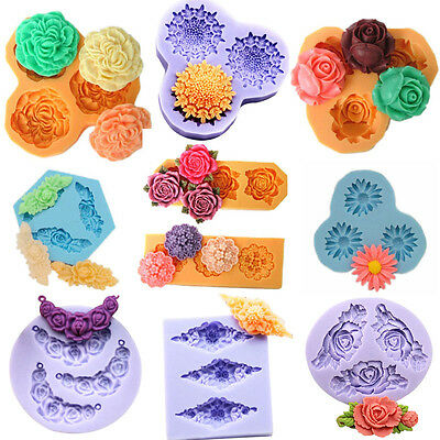 Flower Rose Purple 3D Silicone Resin Mould for Polymer Clay Candy Cake Fondant