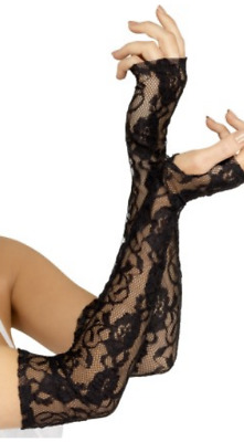 Ladies Elbow Length Gloves Fancy Dress Accessory Black Lace Fingerless Gloves