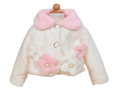 New Girls Ivory and Pink Faux Fur Long Sleeves Coat Bolero 4-5 Years