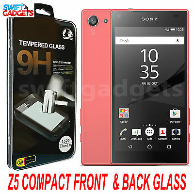 Front + Back 9H Clear Tempered Glass Screen Protector For Sony Xperia Z5 Compact