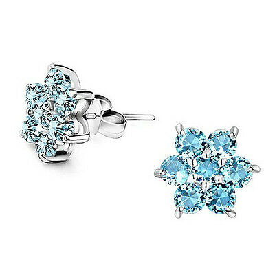 Aqua Blue Frozen Snowflake Studs Earrings Swarovski Element Crystal Statement