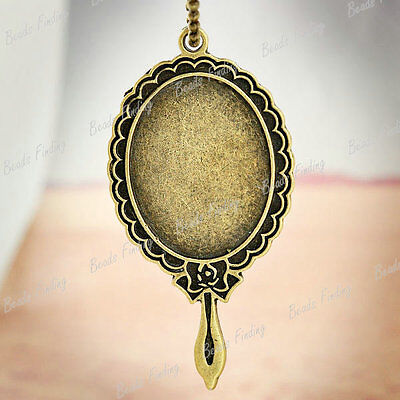 4x Oval Pendants vintage style new Cabochon Settings Antique Bronze brass TS7440