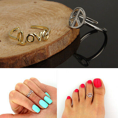 Women's Fashion Toe Ring Simple Peace Sign Adjustable Foot Jewelry Beach CA12